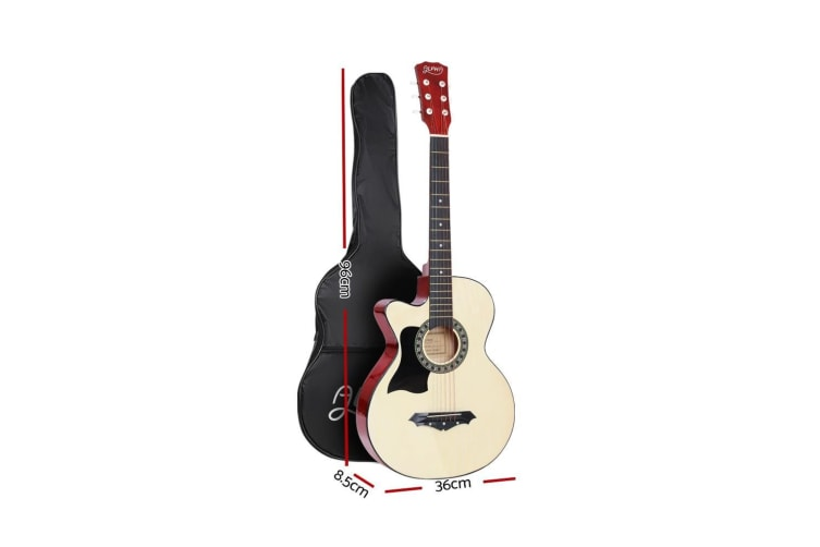 Alpha 38 Inch Wooden Acoustic Guitar Left Handed Classical Folk Full Size Capo