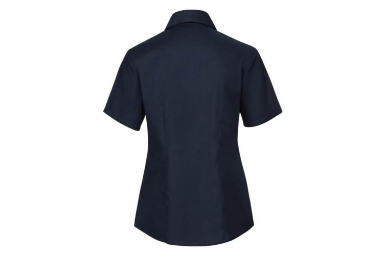 Russell Collection Ladies/Womens Short Sleeve Easy Care Oxford Shirt (Bright Navy) (XL)