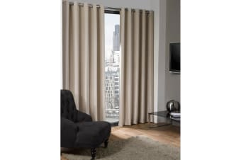 Logan Blackout Plain Thermal Curtains With Eyelets (Natural) (46in x 72in (117cm x 183cm))