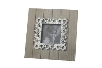 Lace Heart Photo Frame (White/Wood) (17.5 x 17.5 x 1.2cm)