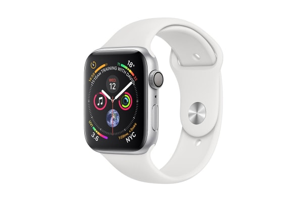Apple Watch Series 4 (Silver, 40mm, White Sport Band, GPS Only)