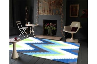Ikat Chevron Blue Green Rug