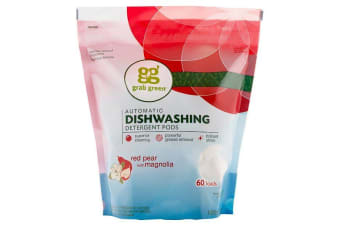 Grab Green Automatic Dishwashing Detergent Pods Natural & Non Toxic Formula - Red Pear & Magnolia, 60 Loads, 1080g