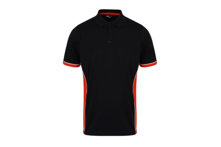Finden & Hales Mens TopCool Short Sleeve Contrast Polo Shirt (Navy/Red/White) (XS)