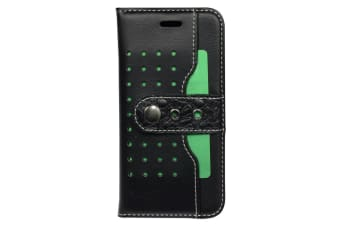 For iPhone 8 7 Wallet Case Fierre Shann Buckle Protective Leather Cover Black