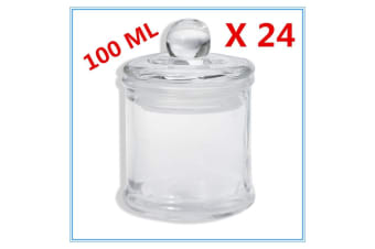 24 x Glass Apothecary Candy Jar with Lid for Candy Candle Waxing Mini 100ml FW