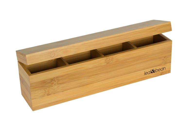 Leaf And Bean Bamboo Tea Box With 4 Compartments