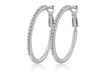 Circle Of Life Earrings w/Swarovski Crystals-White Gold/Clear