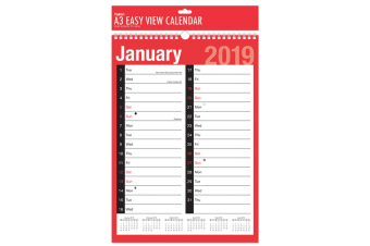 Tallon 2019 A3 Two Column Month Planners Pack (Pack Of 12) (Red/Black)