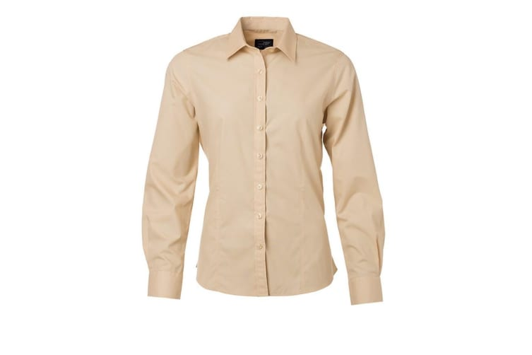 James and Nicholson Womens/Ladies Long Sleeve Poplin Shirt (Stone) (L)