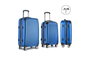 3 Piece Lightweight Hard Suit Case (Blue)