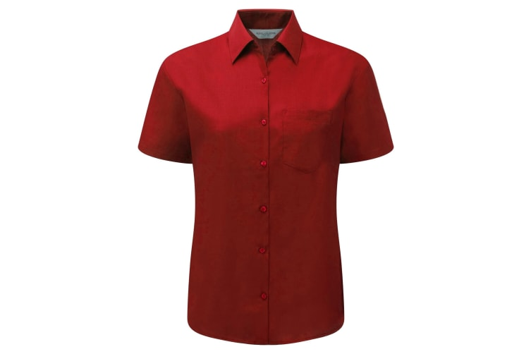 Russell Collection Ladies/Womens Short Sleeve Poly-Cotton Easy Care Poplin Shirt (Classic Red) (L)