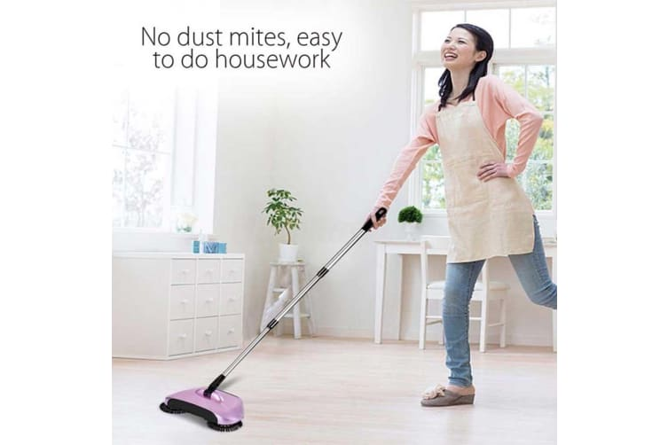SOGA 2x Hand Push Sweeper Broom Lazy Auto Spin Household Cleaning No Electricity Red