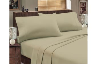 ALL SIZES Egyptian Cotton Sheet Set Flannelette 175GSM Luxury Comfortable - Mega King - Stone
