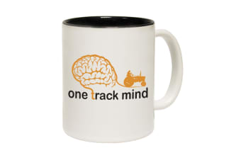 123T Funny Mugs - Onetrack Tracktor - Black Coffee Cup