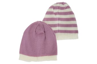 Toddlers Girls Knitted Two Tone Winter Hat (Pack Of 2) (Lilac/White) (One Size)