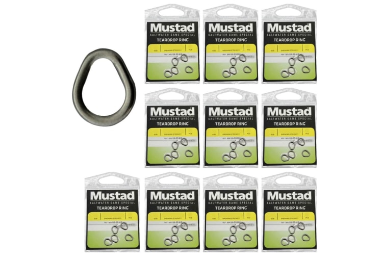 10 x Packets of Large Mustad Stainless Steel Teardrop Rings For Fishing Lures