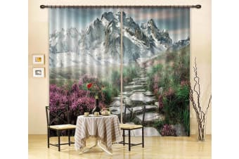 3D Mountain Stone Road 78 Curtains Drapes, 203cmx241cm(WxH) 80''x 94''