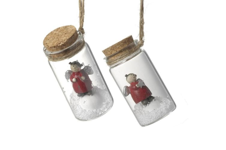 2 Red Bottled Angels (Clear) (3.7x7.5cm)