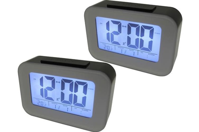 2X Smart Light Lcd Alarm Clock Backlit Display Portable Battery Operated Black