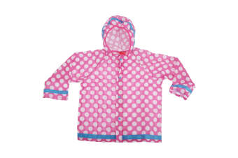 Childrens/Kids Polka Dot Design Hooded Showerproof Raincoat (Pink) (7-10 Years)