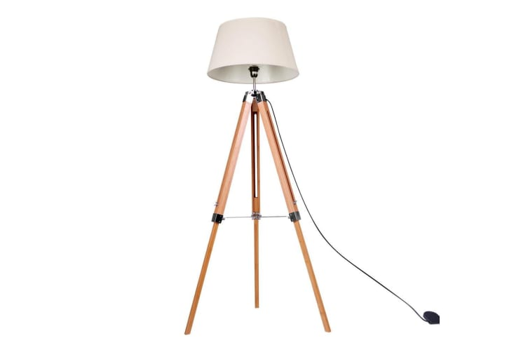 Modern Vintage Retro Floor Lamp Bamboo Tripod Linen Shade Wooden Light