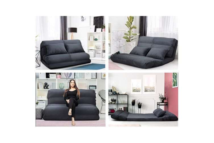 Artiss Lounge Sofa DOUBLE Floor Recliner Chaise Chair Folding Adjustable Suede