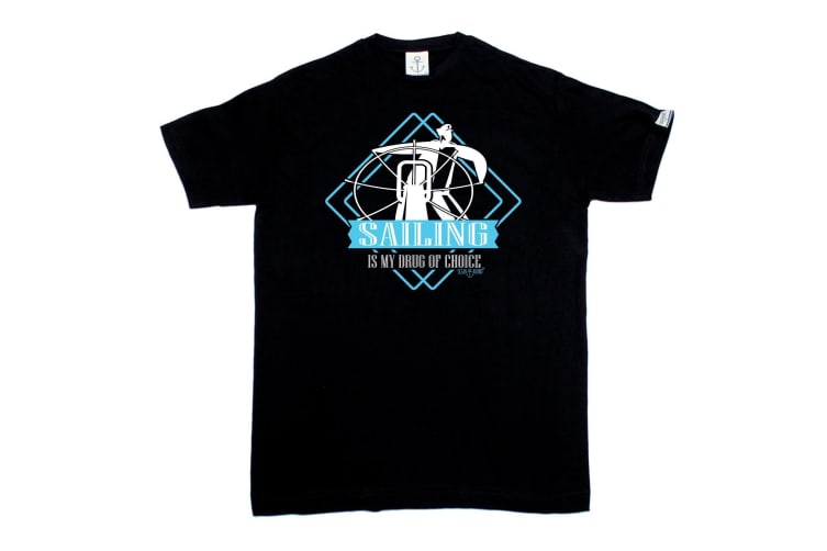 Ocean Bound Sailing Tee - Drug Of Choice - (5X-Large Black Mens T Shirt)