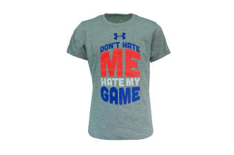 Under Armour Girls' Don't Hate Me Hate My Game (Grey Heather/Blue/Pink)
