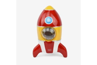 Cute Ceramic Rocket Coin Bank With Glitter Window & Rubber Stopper