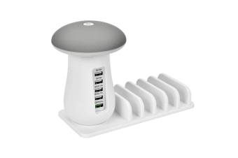 Mushroom Lamp Five-Port Usb Charging Bracket Mobile Charger - Grey White White AU