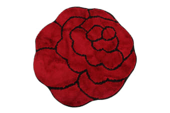 Non-Slip Striped Flower Shaped Area Mat/Rug (3 Colours) (Red / Black)