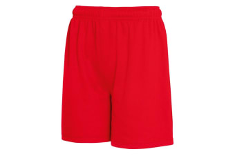 Fruit Of The Loom Childrens/Kids Moisture Wicking Performance Shorts (Red) (14-15 Years)
