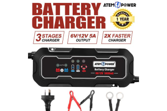 ATEM POWER Smart Battery Charger 5A 12V/6V Automatic SLA Motorbike Car Boat Deep Cycle AGM