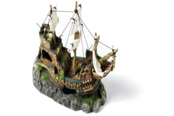 Classic Polyresin Galleon With Sails Fish Tank Ornament (Brown)