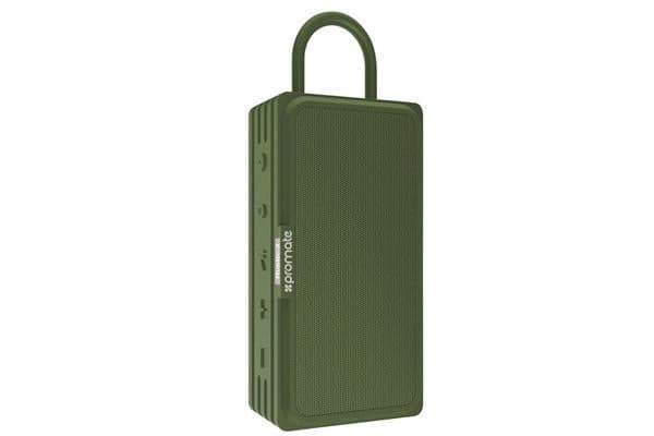 PROMATE Bluetooth v4.2 Water Resistanct IPX6 Speaker with true wireless stereo MicroSD green