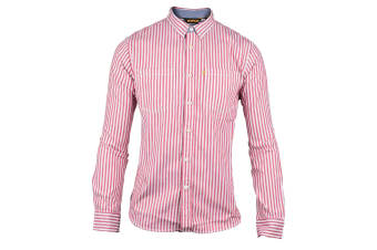 CAT Lifestyle Mens C2611092 M Street Long Sleeve Striped Shirt (Red) (Large)