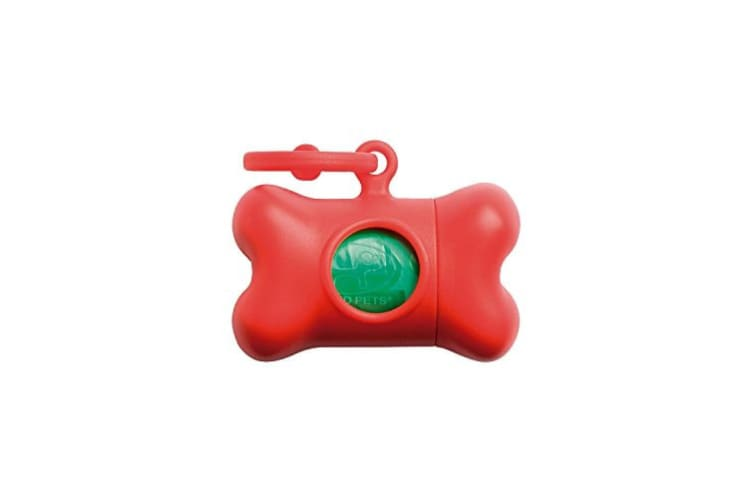 United Pets Bon Ton Nano Clip On Dog Poo Bag Dispenser With 10 Plastic Poo Bags (Red/Green) (One Size)