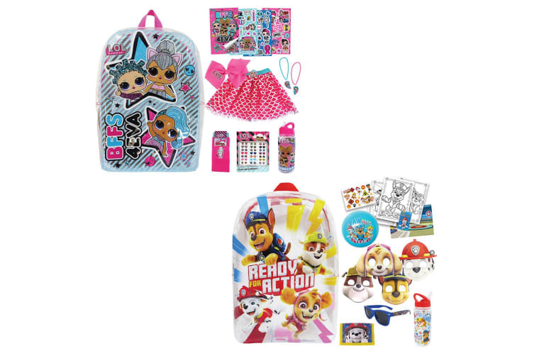 Lol Surprise & Paw Patrol Kids Combo Show Bag Backpack/Skirt/Necklace/Sticker 3+