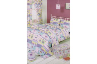 Mucky Fingers Childrens Girls Patchwork Design Unlined Curtains With Tiebacks (Multicoloured)