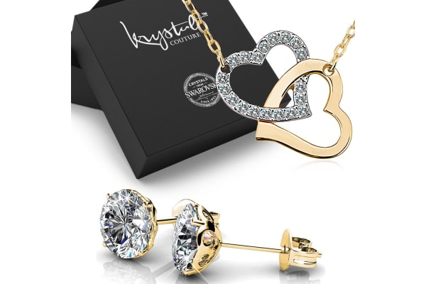 Boxed Heart Necklace Earrings Set W Swarovski Crystals Gold Clear