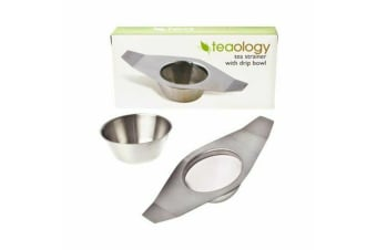 New Teaology Stainless Steel Tea Strainer With Drip Bowl