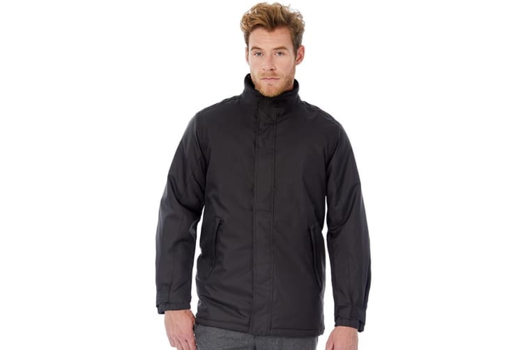 B&C Mens Real+ Premium Windproof Thermo-Isolated Jacket (Waterproof PU Coating) (Black) (3XL)