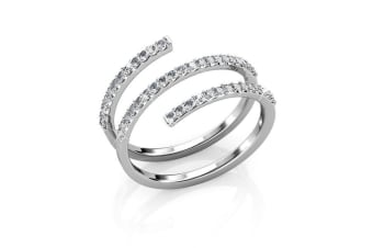 Swirl White Gold Ring Embellished with Crystals from Swarovski