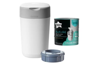 Tommee Tippee Twist & Click Disposal Bin & 3PK Refill Pack f/ Nappy/Diaper Waste