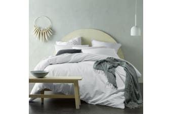 Crinkle 100% Cotton Quilt Cover Set White Queen