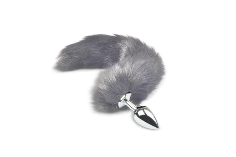 Stainless Steel Anal Butt Plug Large Faux Fur Cat Fox Tail Metal Anal Sex Toy