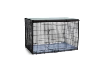 Foldable Double Door Metal Steel Dog Cage Black