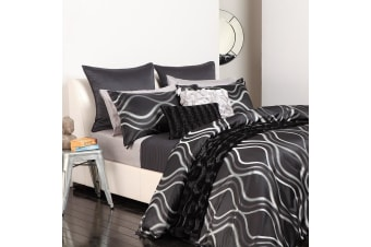 Nero Quilt Cover Set Pewter QUEEN by Logan and Mason