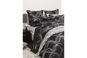 Saxon Quilt Cover Set Pewter KING